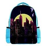 SIDOLI Neonstadt lila, Schulrucksack Schultasche Nette Bookbags Rucksack Laptop Rucksack Diebstahlsicher Casual für Kinder Mädchen Jungen