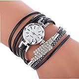 Heall Frauen-Uhr-Analog Quarz-Uhr mit Lederarmband Kristall Multi Layer PU-Webart-Verpackungs-Uhr-beiläufige Armbanduhr mit Batterie (Schwarz) Schmuck-Set