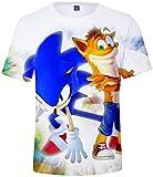 Takyojin Herren T-Shirt Japanischer Anime Sonic The Hedgehog Cool 3D Cartoon T Shirt Cosplay Kostüm Kurzarm Top Sommer Shirt XL