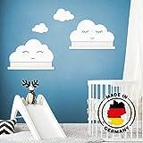 Wandtattoo Wolken in weiß mit Augen für IKEA Regalbrett Ribba/Mosslanda 55 cm Bilderleiste für Babyzimmer Kinderzimmer – Aufkleber für Wand Tap