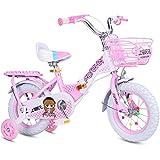 ZXQZ Mädchenfahrrad, Kinder Faltrad, 12'/ 14' / 16'/ 18' Faltbares Kinderfahrrad mit Stützrad, Pink (Size : 18'')
