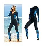 Frauen Tauchenanzüge, Langarm Ganzkörper Tauchen Anzug Reißverschluss Himmel Surf Sport Body (Color : Black, Size : XL)