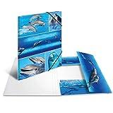 HERMA 19213 Sammelmappe DIN A4 Tiere Delfine, stabile Pappe, Ordnungsmappe mit farbig bedruckten Innenklappen und Gummizug, Zeichenmappe für Kinder, Mädchen und Jungen