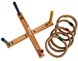 Schildkröt Ring Toss Ringwurfspiel, Set zum Zusammenschrauben aus zertifiziertem FSC Holz, 1 Wurfkreuz, 5 Wurfringe, 970113