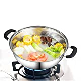 ZDAMN Heißer Pot Chinesischer Shabu Pot Shabu Hot Pot Edelstahl mit Teiler for Küchenkocher für Zuhause (Farbe : Silver, Size : 30cm)