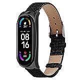 Retro Armband Kompatibel mit Xiaomi Mi Band 6 Uhrenarmbänder Bracelet Watch Band Fitness , Wristband aus PU Leder Strap Herren Damen Sport Ersatzarmband armbanduhr Ersatzbänder (A)
