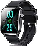 Smartwatch, Fitness Tracker Armbanduhr IP68 Wasserdicht Für Damen Herren, Sportuhr Mit Pulsuhr Schlafmonitor Schrittzähler Blutdruckmessung, Smart Watch Für IOS Android HandyBlack