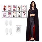 Ainkedin Halloween kostüm, Vampir kostüm, Schwarz Rot Cape 150 cm, 10 gruselige Tattoo-Aufkleber und Zahnersatz, Unisex Rollenspiel für Erwachsene faschingskostüme Mittelalter