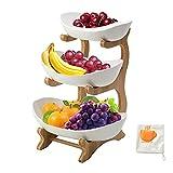 Yadass Obst Etagere 3 Etagen, Keramik Obstkorb mit Bambus Ständer, Großer Obstteller für Tischdekoration Obstkorb, Für Obst, Brot, Snacks- (Weiß)