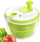 Wuhanyimang Salatschleuder, schnelles, einfaches Abtropfen und Abtropfen von Salat und Gemüse, großes Fassungsvermögen, spülmaschinenfest (grün)