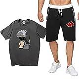 Naruto Tshirt und Hosen Herren, Damen Naruto Kakashi Akatsuki Anime 3D Sommer T-Shirt und Shorts Set Männer Sport Kurzarm Shirt Anzug Teenager Mädchen Jungen Lässig Oberteile Blusen Shirt Top (5,XXL)