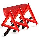 MYSBIKER Warndreieck mit Aufbewahrungsbox, Sicherung von Unfall- und Gefahrenstellen für Unfälle und Pannen, Faltbares Notfalldreieck, reflektierendes Warndreieck (RED, DOT)