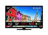 Nikkei NH3221SMART 81 cm/ 32 Zoll Fernseher (Smart TV mit intergrierten WLAN/WiFi, HD Ready, 1366 x 768, 3X HDMI, 1x USB, VESA 150 x 200 mm, Wecker, elektrischer Programmführer)