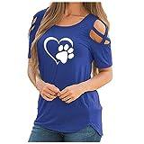 AFFGEQA Damen T-Shirt Sommer Kurzarm Oberteile Rundhals Schulterfrei Bluse Tierdruck Herzdruck Retro Blumendruck Tunika Shirt Lose Top