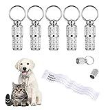 tiopeia 6 Stück Adressanhänger für Hunde Katzen, ID Tag Hundemarke Tiermarke mit Schlüsselringe und Wasserdicht Pillendose für Katzenhalsband Hundehalsb