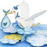 LIEBESSA 3D Pop Up Karte Gratulation zur Jungen-Geburt (Baby), Glückwunschkarte Sohn, Geburtskarte, Handgemachte 3D Babykarte Blau-Storch