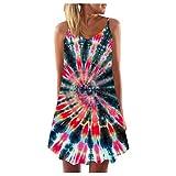 Inawayls Damen Minikleid Sommermode Tie-Dyed Bedrucktes T-Shirt Kleid V-Ausschnitt Ärmelloses Trägerkleid Damen Hosenträger Loses Minikleid