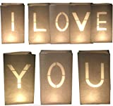 AMENOPH1S I Love You-Set | Weiße Papierlaternen | Kerzentüten | Lichttüten | Einzelne Buchstaben | Dekorationen für Dein Partner | Schwer Entflammbar