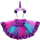 Fenical Einhorn Kostüme Kinder Einhorn Horn Strinband mit Ohren Blumen Regenbogen Tutu Rock Mädchen für Karneval Größe M(Lila)