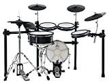 XDrum DD-650 Mesh E-Drum Kit - elektronisches Schlagzeug mit echter HiHat - 14' Snare-Pad und 14' Kick-Pad aus Holz - 720 Sounds, 20 Preset- und 20 User-Kits - inklusive Rack - Black Sparkle