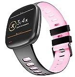 KINOEHOO Ersatzarmband kompatibel mit Fitbit Versa 3/Sense Edelstahl Armband Weiche Silikon Uhrenarmbänder.(Schwarz + Pink)