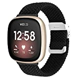 Vozehui Kompatibel mit Fitbit Sense Armband/Fitbit Versa 3 Armband, elastisch atmungsaktiv, verstellbar, weiches Nylon Strick Sportersatzband für Fitbit Versa 3/Sense, Frauen Männer