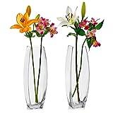 2er Set Glasvasen quadratisch 34,8 cm hoch x 10,8 cm quadratisch - Vielseitig einsetzbar: Stumpenkerze, Schwimmkerzenhalter oder Blumenvase - Perfekt als Hochzeitsdekoration