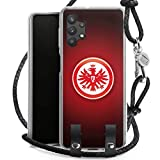 DeinDesign Carry Case kompatibel mit Samsung Galaxy A32 5G Hülle mit Kordel aus Leder Handykette zum Umhängen schwarz Silber Eintracht Frankfurt Offizielles Lizenzprodukt Wappen