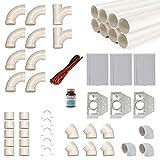 Zentralstaubsauger Einbau-Set für 3 Saugdosen mit Rohren, Fittings und Co - DIY-Montageset für Staubsaugeranlage - Saugdose VacuValve rechteckig