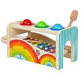 SM SunniMix Kind Montessori Spielzeug 2 in 1 Holz Pounding Balls Xylophon Musik