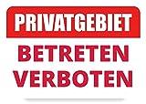 Generisch 3mm Starkes PVC-Schild: Privatgebiet Betreten Verboten! Schild Privatgrundstueck Betreten Verboten Warnschilder Privat Schild Hinweisschild, A4