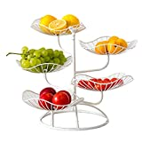 Jarome stufiges Obstkörbe Dekorative Obstkörbe Obstregal Aus Metall Zum Aufstellen für Frische Früchte und Gemüse SchwarzWeißGold Reliable