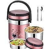 MYYU Speisebehälter Lunchbox Edelstahl Isolierbehälter Speisebehälter Essensbehälter Warmhaltebox für Essen und Flüssigkeiten Thermobehälter,Rosa,1.6L
