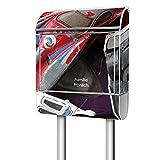 banjado Standbriefkasten personalisiert, Postkasten aus Stahl weiß pulverbeschichtet mit Zeitungsrolle, Designer Mailbox Motiv Spielautos