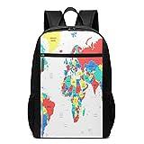 Schulrucksack Asien Land Weltkarte, Schultaschen Teenager Rucksack Schultasche Schulrucksäcke Backpack für Damen Herren Junge Mädchen 15,6 Zoll Notebook