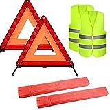 4er Pack Sichtbarkeit Auto-Notfall-Straßenrand-Kit Sicherheitsset mit Warndreiecken LED-Straßenfackeln Reflektierende Sicherheitsweste für PKW-SUV