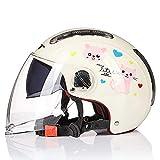 Erwachsener Motorradhelm mit Doppelvisier, Jet-Helm Chopper Cruiser Vintage Pilot Helmet, ECE zertifizierung Für Kreuzer,mopeds,Roller,geländefahrzeuge B,M(54~56cm)