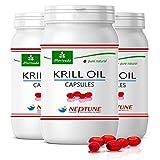 MoriVeda® Neptune Krillöl 270 Kapseln mit hochwertigem Omega 3 Öl, Astaxanthin, Antioxidantien & Vitamin E I Zertifiziert durch USDA, ISO, MSC & FOS I 3x 90 St.