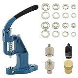 GETMORE Parts Ösenpresse + Ösenwerkzeug + Lochwerkzeug + 100 Ösen, Messing, rostfrei - Silber, 10 mm