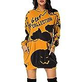 Fascino-M Damen Hoodie Kleid Pullover Halloween kostüm Langarm Sweatshirts Kapuzenpullover Tops Herbst Mini Kleid Sweatkleid Sweatshirtkleid Kapuzenjacke Kapuzenpulli Halloween Kleid