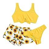HUBA Kinder Mädchen Badeanzug Bikini Einfarbig Sonnenblumendruck Dreiteiliger Anzug Bademode Badebekleidung Swimwear Sommer (8-14 Jahre)