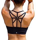 YIANNA Damen Sport BH Ohne Buegel Bequem Bustier Elastizität Fitness Yoga Sports Bra Crop Top mit Abnehmbare Gepolstert Schwarz,YA139 Size L