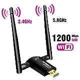 USB-WiFi-Adapter, 1200 Mbit/s, USB 3.0, WLAN-Dongle für PC, Desktop, Laptop mit Dual-Band 2,4 GHz/300 Mbit/s, 5 GHz/867 Mbit/s, unterstützt Windows 10/8/8.1/7/Vista/XP/2000, Mac OS 10.6–10.15