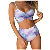 AILIEEE Damen Badebekleidung Bikini-Sets für Frauen New Bandeau Bandage Push-up Brasilianischer Beachwear-Badeanzug Badeanzug Tankini Summer Beach-Badeanzug(Lila,M)