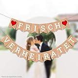 ecooe Frisch Verheiratet Banner Dekoration für Hochzeit Brautdusche Just Married Girlande mit 19Stk Wimpeln und 3M Jute Seil*2