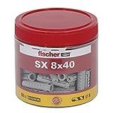fischer Spreizdübel SX 8 x 40, handliche Runddose mit 80 Nylondübeln, Dübel für optimalen Halt bei Befestigungen in Beton, Hochlochziegel, Porenbeton, Vollziegel uvm.