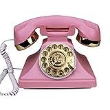 FHISD Retro dekoratives Telefon Schnurgebundenes Telefon Wählscheibe Retro-Telefon-Stil der modernen Elektronik verwendet Standard-Telefonsteckdose