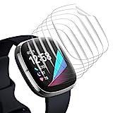 EZCO 6 Stück Schutzfolie Kompatibel mit Fitbit Sense/Versa 3, Allround TPU Bildschirmschutz mit Vollständiger Abdeckung, Wasserdichter, Kratzfester Anti-Blase Displayschutz Sense/Versa 3 Zubehö