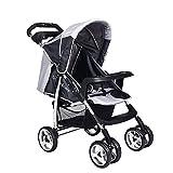 cheap4uk Baby Kinderwagen Buggy Buggy Buggy Set bis 15 kg Vierrad faltbar verstellbar Jogger Reisesystem mit Matratze und Universal-Regenschutz (grau)