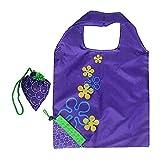 Trihedral-X 4pcs Frucht Polyester Falten Einkaufstaschen Werbetaschen tragbare Aufbewahrungsbeutel (Color : Grape)
